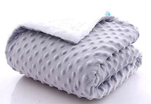 SWEET DOLPHIN Sherpa Minky Baby Blankets for Crib Stroller Nap, Fuzzy Warm Cozy Soft Receiving Blankets Unisex for Boys, Girls, Kids, Toddler, Infant - Light Grey - 30x40 inches