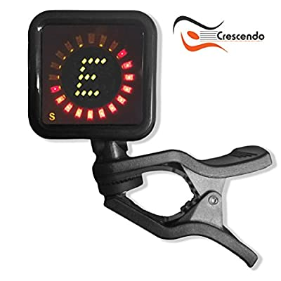 Crescendo ZenStrobe TRUE STROBE Clip On Tuner, for All Instruments, Acoustic, Electric, Classical Guitar, Bass, Violin, Ukulele , Most Accurate Available, Professional Grade