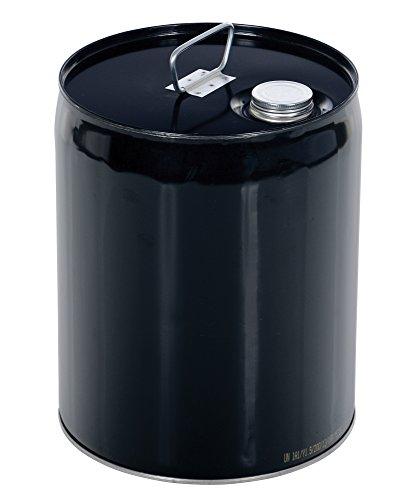 Closed Head Steel Drums (Vestil PAIL-STL-C5S-UN100 Closed Head Steel Pail with Spout, Black, Rated UN 1A1/Y1.5/100)
