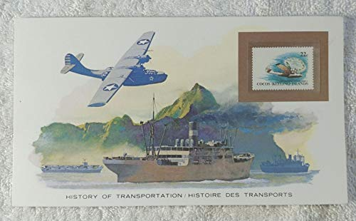 - Consolidated Catalina - Postage Stamp (Cocos Islands, 1981) & Art Panel - The History of Transportation - Franklin Mint (Limited Edition, 1986) - Flying Boat, Monoplane, World War II