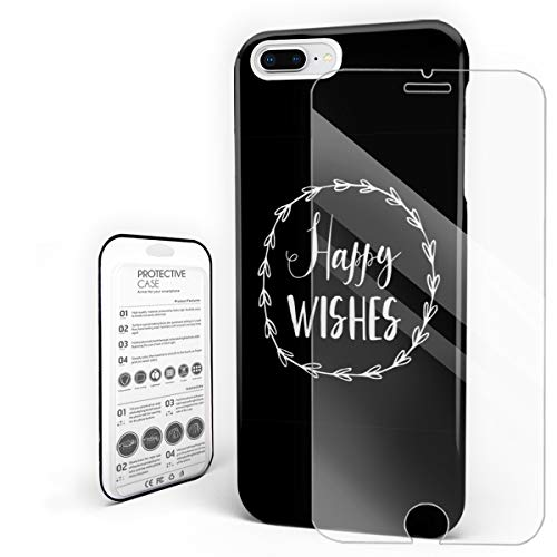 Compatible with iPhone 7 Plus Case and iPhone 8 Plus Case, Hard PC Back Phone Case with Tempered Glass Screen Protector Happy Wishes Garland Pattern Shockproof Protective Cover -