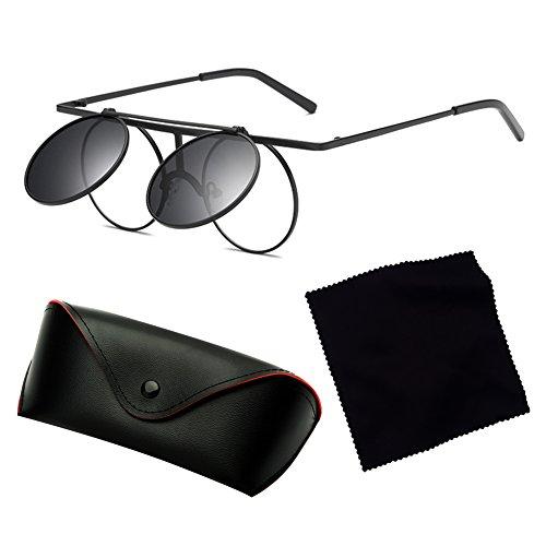 ... Vintage Polarisées Steampunk Polarized lunettes de soleil femmes hommes  hibote gothique ronde Flip Up Lens C2 ... 78871315b7be