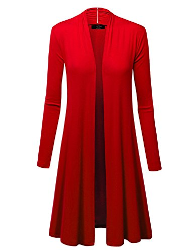 WSK1048 Womens Solid Long Sleeve Open Front Long Cardigan L RED ()