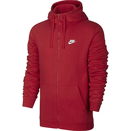 NIKE Mens Sportswear Full Zip Club Hooded Sweatshirt University Red/White 804389-657 Size X-Large (Flex Hoodie Fit Zip Full)