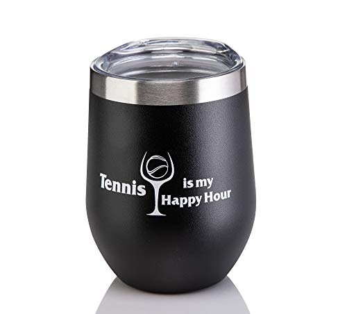 Tennis Addiction Tennis Is My Happy Hour Stainless Steel Stemless Wine Glass Captain Tennis Gift