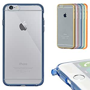 iPhone 6 Plus Clear Case, Nue Design Cases TM iPhone 6 PLUS (5.5) INCH SCREEN Ultra Thin Transparent Crystal Clear Case with Color Bumper (BLUE)
