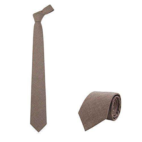 Jnjstella Men's Cotton Solid Necktie Classic Tie - Solid Tie Brown