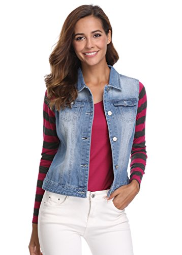 MISS MOLY Women's Buttoned Washed Denim Vest With Western (Western Down Vest)