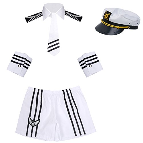 Freebily Mens Sexy Sailor Navy Uniform Halloween Costume Outfit Cap Collar Tie -