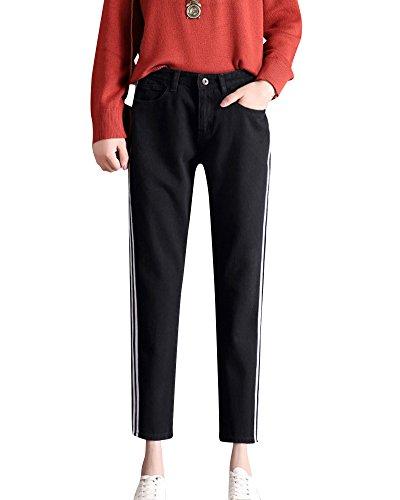 Mengmiao Mujer de los Deportes de la Longitud del Tobillo Vaqueros Baggy Alta de Cintura Pantalones Negro
