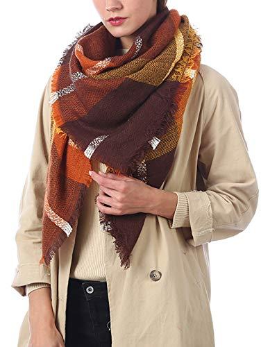(Cozy Warm Plaid Blanket Scarf Womens Big Square Long Soft Tassel Checked Scarves Shawl Wrap Brown)
