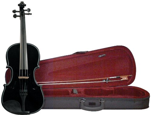 Merano MV200BK 4/4 Full Size Color Violin with Case - Gloss Black Finish
