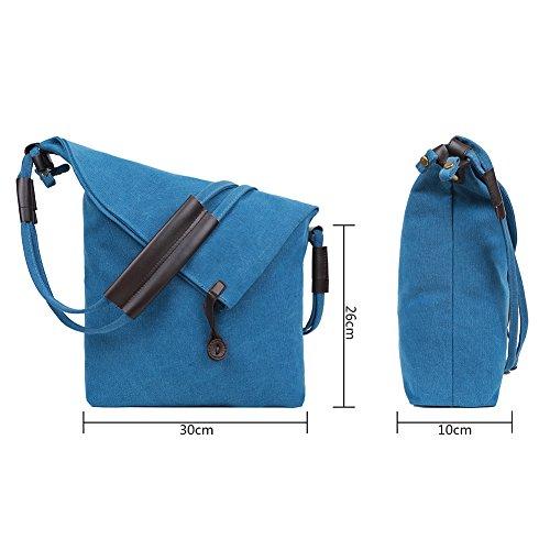 Sac Toile 1 Porté femmes à hommes Bag Gris bandoulière Bleu EGOGO Epaule pour Sac Messenger E523 dTqCwdOtx
