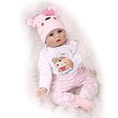 Nicery Reborn Baby Doll Soft Simulation Silicone Vinyl Cloth Body 22 inch 55 cm Magnetic Mouth Lifelike Boy Girl Toy for Ages 3+ Pink Bear Lucy Nicery-RD55C108: Toys & Games