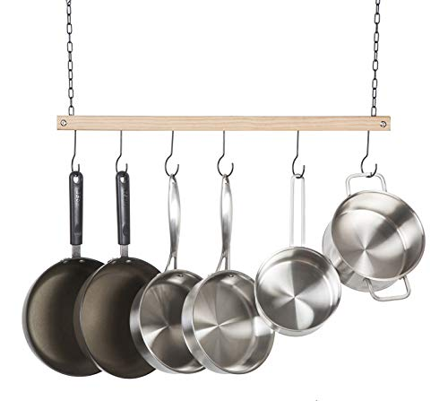 Ceiling Pot Rack Wood - Soduku Pot and Pan Rack Organizer, Ceiling Mounted Single Wooden Cookware Hanger with 6 Hooks for Pot Pans Utensils