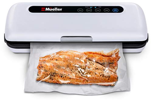 (Vacuum Sealer Machine By Mueller | Automatic Vacuum Air Sealing System For Food Preservation w/Starter Kit | Compact Design | Lab Tested | Dry & Moist Food Modes | Led Indicator Lights)