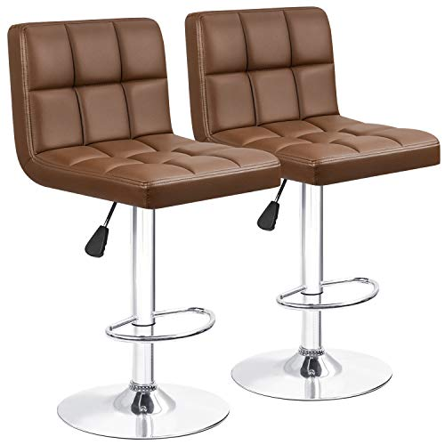 Furniwell Bar Stools Barstools Modern Square PU Leather Adjustable Barstool, Armless Counter Height Swivel Bar Stool with Back Set of 2 (Brown)