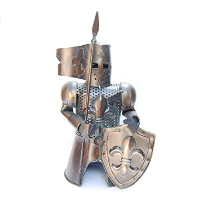 """Metal Medieval Knight Armor with Flag Spear and Shield Bottle Cover, Wine Holder, 13"""" Tall"""