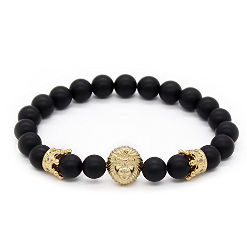 POSHFEEL 8mm Black Onyx Stone Beads Gold Lion Head Imperial Crown Bracelets for Men,7.5