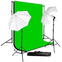 ePhotoInc Photography Studio Lighting kit Video Photo Portrait Light Kit with Muslin Backdrop Background Support Stand H57