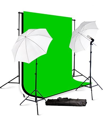 ePhotoInc Photography Studio Lighting kit Video Photo Portrait Light Kit with Muslin Backdrop Background Support Stand H57 by ePhotoinc