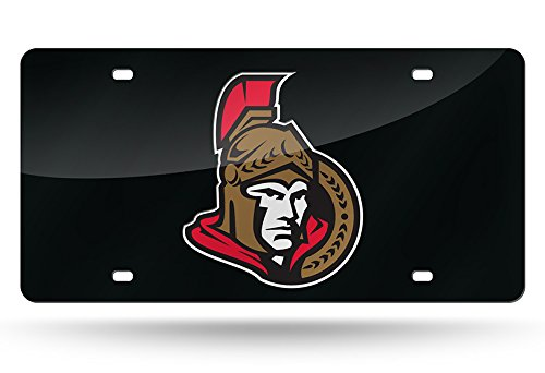 - NHL Ottawa Senators Laser Inlaid Metal License Plate Tag, Black