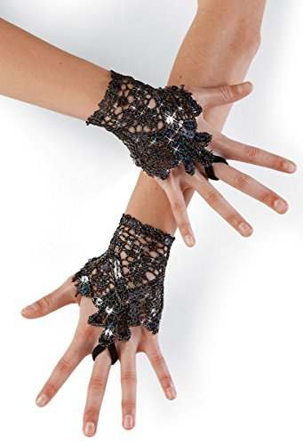 Balera Costume Fingerless Gloves Wrist Length Crochet Lace With Sequins and Finger Loop Black SMC (Gloves Fingerless Wrist Length)