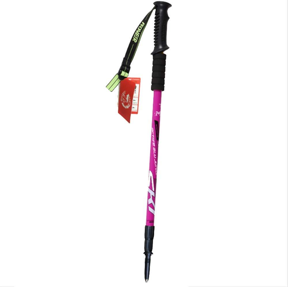WCS Männer und Frauen im Freien Trekkingstange Ultraleichte Carbon Folding Crutch (Farbe : Rose ROT)