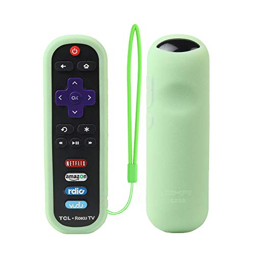 TCL Roku RC280 Remote Case SIKAI Silicone Shockproof Protective Cover for Roku 3600R / TCL Roku RC280 TV Remote [RoHS Tested Material] Skin-Friendly Anti-Lost with Remote Loop (Glow in Dark-Green)