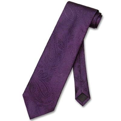 Vesuvio Napoli NeckTie Solid DARK PURPLE Color Paisley Men's Neck Tie