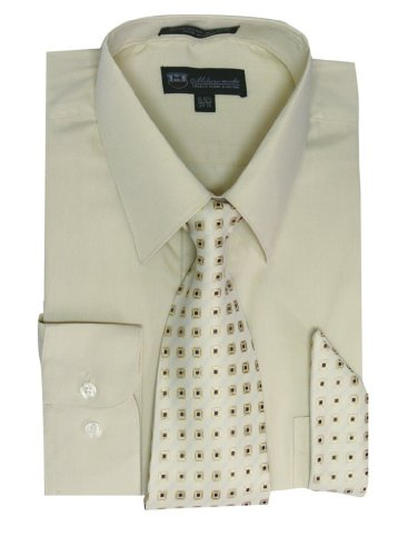 Milano Moda Men's Long Sleeve Dress Shirt With Matching Tie And Handkie SG21A-SoftButter-16-16 -