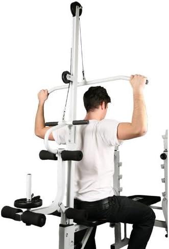 KLAR FIT Klarfit HB2RT Banco de Pesas - Banca de Musculación Completo para casa, Incluye Barra, poleas y curlers para Ejercicios Variados, Altura ...