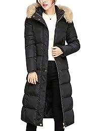 Women's Winter Cotton Padded Long Coat Outerwear With Fur Trim Hood