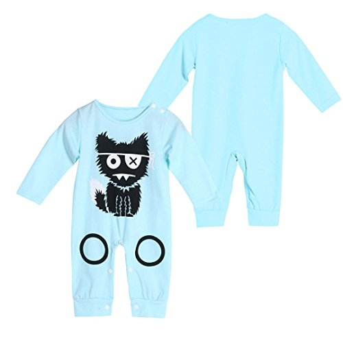 AMA(TM) Newborn Baby Girl Boy Cartoon Print Romper Jumpsuit Onesies (12-18M, Light (Del Amo 15 Light)