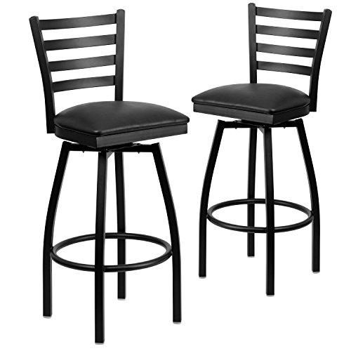 Flash Furniture 2 Pk. HERCULES Series Black Ladder Back Swivel Metal Barstool - Black Vinyl (Black Vinyl Swivel Bar Stool)
