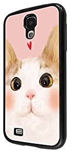 1126 - Cute Cat Face Love Heart Design For Samsung Galaxy S4 i9400 Fashion Trend CASE Back COVER Plastic&Thin Metal - Black