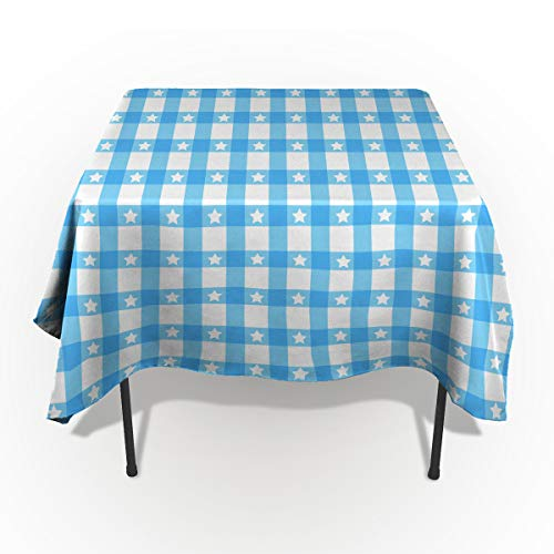 ZOE GARDEN Square Cotton Linen Fabric Tableclothes, Simple Design Blue-White Plaid and Star Dust-Proof Table Cover for Kitchen Dinning Tabletop Decoration, 53x53in=133x133cm