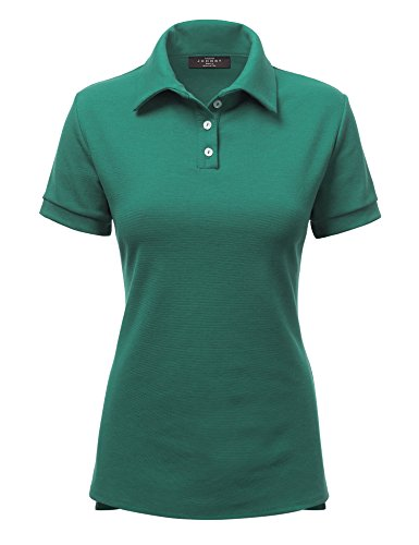 Jade Pique Polo Shirt - Made By Johnny WT1489 Womens Short Sleeve Polo T-Shirt With Side Slit S Jade