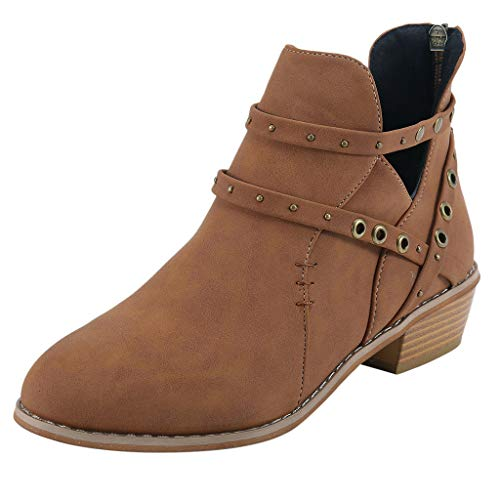 Women Single Boots, NEARTIME Spring/Autumn Suqare Heels Zipper Rivets Short Boot Retro Casual Hollow Sandals Shoes