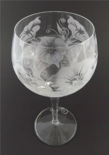 IncisoArt Hand Etched Italian Crystal Goblet Sandblasted (Sand Carved) Handmade Wine Water Glass Engraved (Morning Glory Flower, 500 Milliliter (17 Ounce) Red Wine)