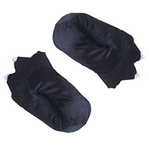 SODIAL Winter Frauen Baumwolle Pantoffeln Plueschtiere Schwarze Klauen Phantasie Pfote Pantoffeln