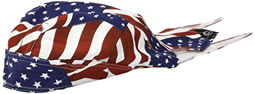 ZANheadgear 100% Cotton Road Hog Flydanna Bandanna, Wavy American Flag