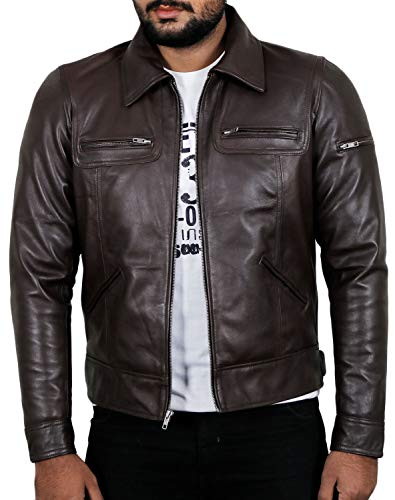 Laverapelle Men's Genuine Lambskin Leather Jacket (Brown, Extra Large, Polyester Lining) - 1501200 ()