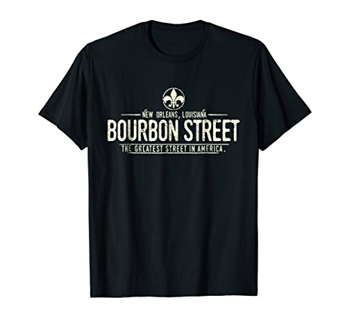 - Bourbon Street New Orleans Louisiana Distressed T-Shirt