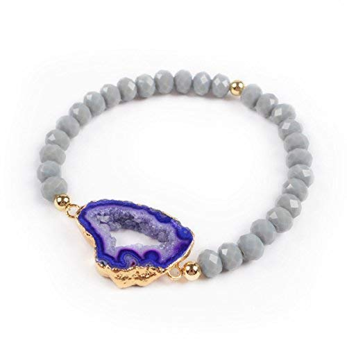 JAB Gold Plated Purple Agate Druzy Geode Slice & 6mm Grey Color Beads Bracelet