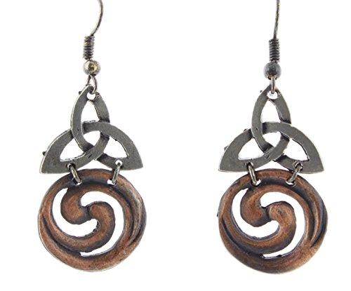 New Pewter Celtic Knot - Anju Two-Tone Bronze & Pewter Dangle Earrings (Celtic Knot)