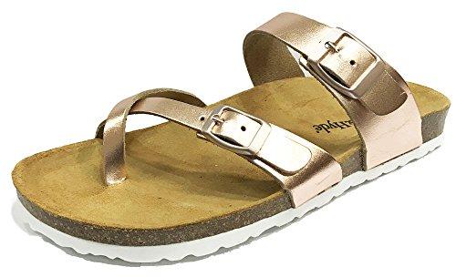 Style Métallisé Burkinstock Chêne Hyde Cuir sandales Rose Or Et De De Savane XqfBwvR4
