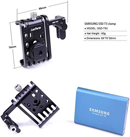 LanParte SSD Clamp with Cold Shoe Mount Bracket Camera Mounts for Samsung T5 SSD Clamp for BMPCC 4K Camera USB-C Cable Clamp