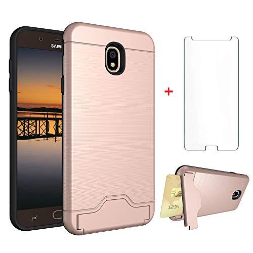 Samsung Galaxy J7 Star J7 Refine J7 2018 J7V V 2nd Gen J737V Wallet Phone Case Women Protective Cover with Tempered Glass Screen Protector Card Holder Stand Kickstand for J 7 Aura Crown S767VL Black