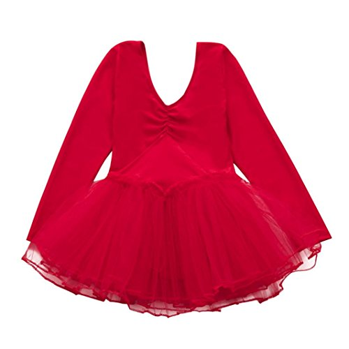 G-real Toddler Baby Girl Solid Ballet Gauze Leotards Dancewear Long Sleeve Tulle Dance Dress for 2-4T (Red, 3T)